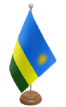 Rwanda Desk / Table Flag with wooden stand and base